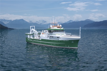 An illustration of Ireland's new marine research vessel, RV Tom Crean, produced by Norwegian architects Skipsteknisk AS