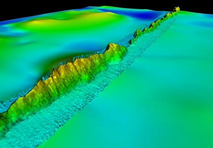 3D perspective of the ridge, from West to East, overlain on previously available GEBCO data.