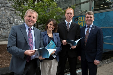 Minister Creed, Amaya Vega, Stephen Hynes and  Peter Heffernan pictured at the launch of the Socio-Economic Marine Research Unit (SEMRU) Report on Ireland's Ocean Economy in Galway today (Friday).  The 4th SEMRU report shows Ireland's blue economy is experiencing sustained levels of economic growth across established and emerging marine industries.  Photo:Andrew Downes, Xposure .
