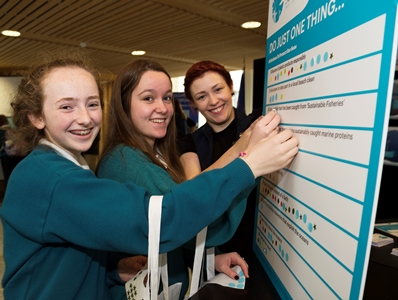 Students from Colaiste na Coirbe, Galway, Ava Barrett and Cliodhna Ní Shé are committing to do just one thing as action of the citizens promise at the Sea for Society/AquaTT Stand. Photo:Andrew Downes, xposure.