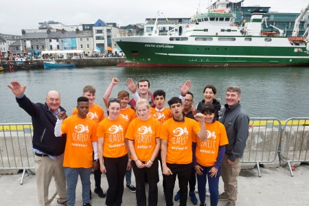 Teenagers on the Safe Haven Ireland voyage enjoying the SeaFest 2017 festivities with Shauna Gillan CEO and Founder of Safe Haven Ireland, Dr John Killeen Chairman of the Marine Institute and Dr Peter Heffernan CEO of the Marine Institute. Photo by Andrew Downes, XPOSURE