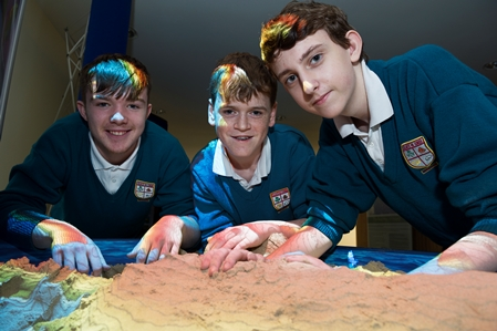 Augmented Reality (AR) Sandbox,  pupils from Colaiste na Coirbe Harry Donnellan, James Gavin and Eoghan Brophy. Photo:Andrew Downes, xposure.