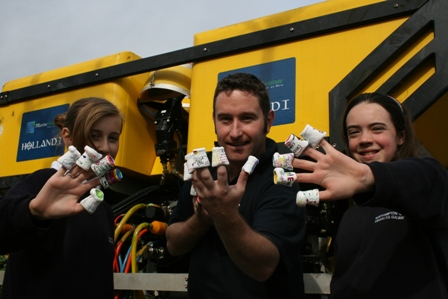 Students from Northampton, Kinvara show off polystyrene cups that  were compressed at 3,000 metres deep in the water when attached to the Remotely Operated Vehicle ROV Holland 1 on the recent VENTuRE mission.Photo Cushla DromgoolRegan