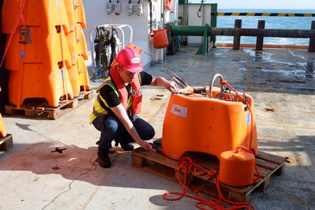 DIAS scientists collect unique data from the bottom of the Atlantic Ocean. Photo Credit: SEA-SEIS Team