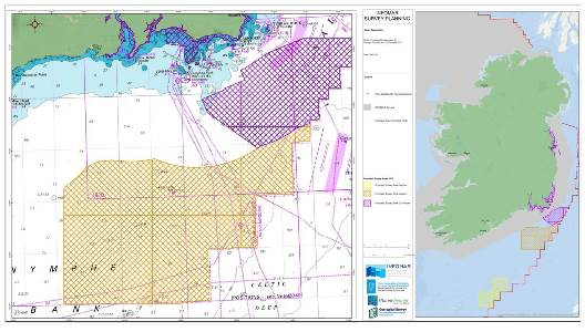 INFProposed 2017 survey areas for INFOMAR vessels. Marine Institute - R.V. Celtic Voyager – orange hatched box; R.V. Celtic Explorer – yellow hatched box. Geological Survey Inshore vessels (Keary, Tonn & Geo) – purple hatched boxes.OMAR Survey