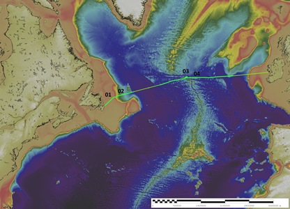 Overview of the Atlantic Transect, numbers correspond to features below, and associated images.