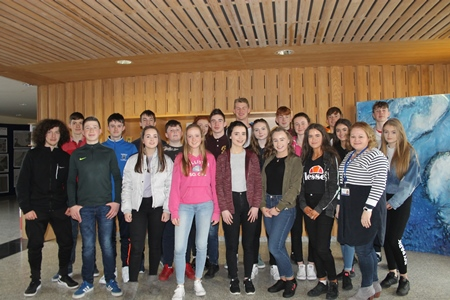 Over twenty TY students attend the Transition Year Training Week at the Marine Institute in Galway, overseen by and Catherine Quigley-Johnston, HR manager. Photo Cushla Dromgool-Regan