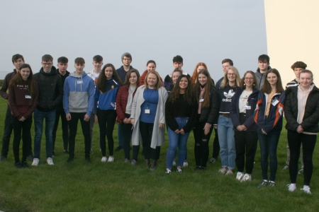 The 22 TY students along with Catherine Quigley-Johnston, HR Manager on their 1st day at the Marine Institute.