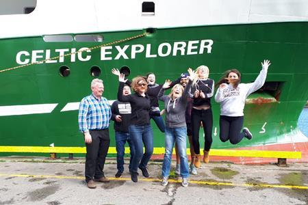 The INFOMAR survey team, accompanied by 2 American and 2 Irish marine science students are clearly excited about seabed mapping on the Celtic Explorer