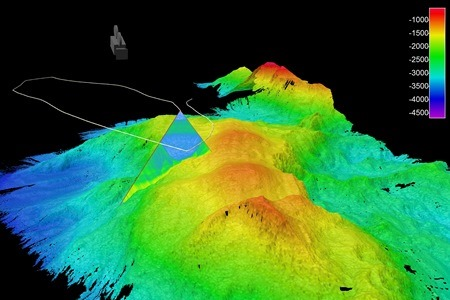 3D image of an underwater mountain. Photo Cr INFOMAR