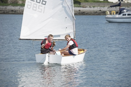Pictured on-board the Optimist are Finn and Lilian Furey from Oranmore, who are particularly looking forward to SeaFest's 'On the Water' activities. SeaFest will take place at Galway Harbour on Saturday 2nd and Sunday 3rd July. Photo Cr Andrew Downes