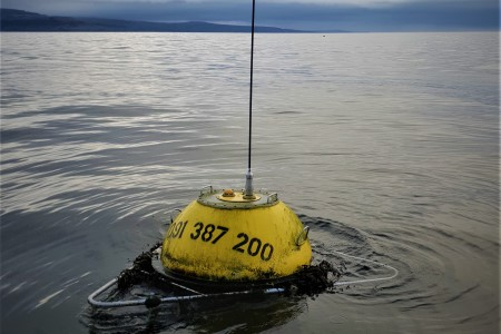 A waverider buoy deployed in Galway Bay. Photo provided by the Marine Institute.