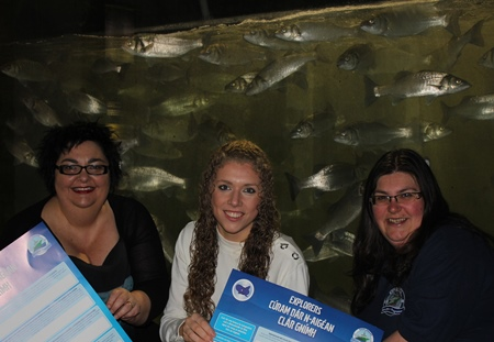 Explorers Education Programme celebrates World Earth Day. L-R Cushla Dromgool-Regan, Marine Institute, Roisin Dobey, Mary Immaculate College and Dr Noirin Burke, Galway Atlantaquaria
