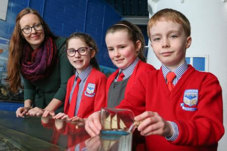 (L-R) Joanne McGlynn, TULCA Education co ordinator and Èabha, David, and Lauryn from Scòil Pàdraig Naofa, Cregmore, Co. Galway rediscover' the Moytirra hydrothermal vents as part of the 'Build your own Unknown' art science project supported by the Explorers Education Programme. Photograph AengusMcMahon