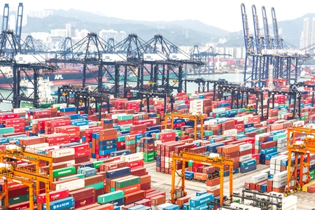 Irish Ports and Shipping volumes Q4 2016 - Bigstock Containers at Hong Kong Commerical Port