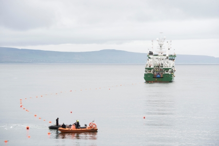Cable laying at Spiddal - Photographer Andrew Downes