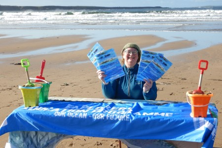 Explorers Outreach officer Carmel Madigan shows off the project workbook 'An Ocean of Stories – My Explorers Personal Story' where she will be working with classes remotely in County Clare.