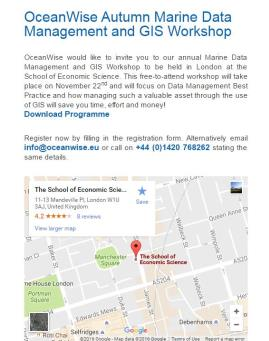 Marine Data Management and GIS Workshop  22nd November 2016