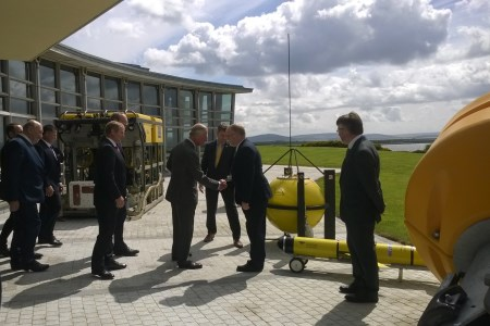 HRH The Prince of Wales meets Mr Mick Gillooly, Director of Ocean Science Services and chats about the ROV/Data Buoy/Glider scientific equipment.
