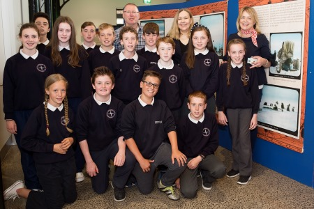 The Norwegian Ambassador Elsa Berit Eikeland along with Geir Klover, Director of the Fram Museum in Oslo, meet the 6th Class of Northampton National School Kinvara – Scoil Bhríghde Naofa, along with their teacher Orla McHale to discuss their projects on the South Pole Photo:Andrew Downes, Xposure .