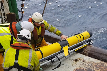The ocean glider being deployed from the RV Celtic Explorer.