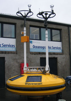 Weather buoy awaiting deployment at the Marine Institute Technical Support Base in Galway