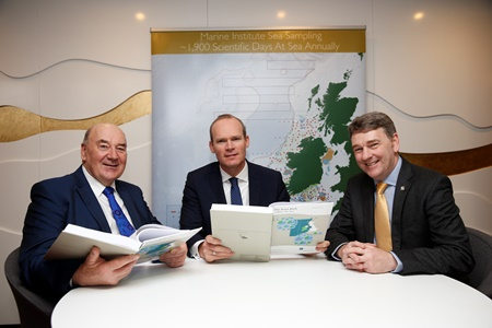 Presentation of the Annual Fisheries Stock Book 2015 to Minister Coveney. Picture courtesy of the Marine Institute.