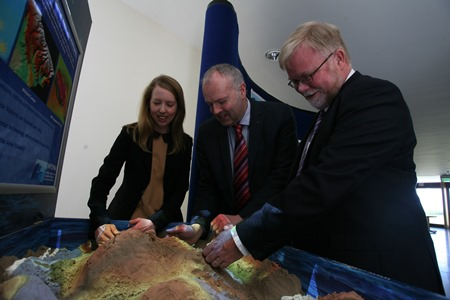 Gerald Fleming, Met Eireann and Eleanor O'Rourke and Mick Gillooly, Marine Institute,check out an AR sandbox, used to explain how we map the seabed. The sandbox will be one of many interactive displays at the Marine Institute's 'Beneath our wild Atlantic' exhibition during SeaFest 2-3 July.Photo Copyright Andrew Downes/Aengus McMahon