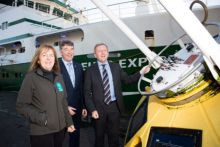 Minister for Agriculture, Food & Marine Michael Creed TD with Marine Institute CEO Peter Heffernan and Evelyn Cusack, Head of Forecasting at Met Eireann at the announcement of the investment of €700,000 in the Marine Data Buoy Network in 2018. Pic Darragh Kane