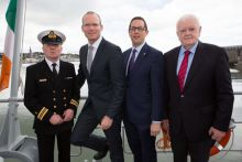 Pictured on board the LE Samuel Beckett at the announcement that the second annual Harnessing Our Ocean Wealth Conference will be held in Cork on 10 July are: Officer Commanding L.E. Samuel Beckett Lt Cdr Anthony Geraghty, Minister Simon Coveney T.D., Conor Healy CEO Cork Chamber, Chairman Of Bord Iascaigh Mhara  Kiernan Calnan. Photograph: Darragh Kane