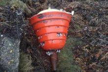 Image of the buoy found washed up in Letter Mullen, Galway