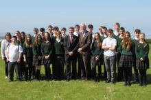 Canadian Ambassador to Ireland, Kevin Vickers, Peter Heffernan and students from Calasanctius Secondary school in Oranmore.