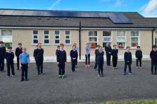 Clontuskert students in front of newly installed solar panels sponsored by Microsoft SSE Airtricity and Activ8. Photo courtesy of St. Augustine's N.S. from Clonstuskert, in County Galway