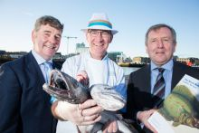 Marine Institute CEO Peter Heffernan, Fishmonger Pat O'Connell and Minister for Agriculture, Food and the Marine Michael Creed TD review the 2018 Marine Institute Annual Stock Book, which is one of the principal annual publications of the Institute, providing the latest impartial scientific advice on commercially exploited fish stocks of interest to Ireland.  Picture Cr Darragh Kane.