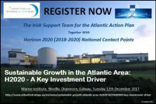 The Irish Support Team for the Atlantic Action Plan, in association with the recently launched H2020 Work Programme for 2018-2020, will host an information session in the Marine Institute, Galway on Tuesday December 12th 2017