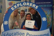 Explorers Education Programme showcases work teaching children about Climate Change, at FÉILTE festival. LtoR: Noelle Moran, Chairperson of the Teaching Council, Peter Kane, Kilglass National School, Noirin Burke, Director of Education Galway Atlantaquaria, and Padriac Creedan, Explorers Education officer, Galway.