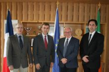 Thomas Furey, INFOMAR, Stephane Crouzat. Ambassador of France in Ireland, Dr Paul Commolly, Marine Institute and Attaché for Science and Technology Marc Daumas visit the Marine Institute Headquarters in Oranmore on the 14th March 2019.