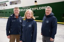 (LtoR) Dr Evin McGovern, Principle Investigator, Marine Institute; Caroline Cusack, Project Manager, Marine Institute; and Dr Peter Croot, Chief Scientist, NUIGalway getting ready for the GOSHIP expedition. Photo Andrew Downes Xposure