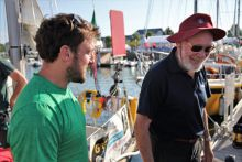 Gregor McGuckin and Sir Robin Knox - Johnston ahead of the Golden Globe Race.