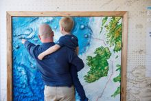 "Hugo Johnston and his father Graham Johnston from the Marine Institute explore Ireland's first ""Sea Science - the Wild Atlantic"" at Galway City Museum during its official launch by Michael Creed TD Minister for Agriculture, Food and the Marine. ""Sea Science - the Wild Atlantic"" is a free exhibition and is a partnership between the Marine Institute and Galway City Museum. Photo:Andrew Downes, xposure"