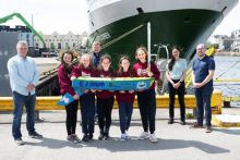 Peter Kane, teacher with Padraic Creedon of the Explorers Education Programme, Christine Loughlin, Marine Institute and Kieran Reilly, Marine Institute with 6th class students (from the same pod) Rosie Dolan, Olivia Cotton, Ruby Glynn, Naomi Faulkner, Sophie Kelly from Kilglass National School in Co Galway delivered their 1.5 metre unmanned mini sailboat called 'Seoltóir Na Gaillimhe – the Galway Sailor' to the Marine Institute's research vessel, RV Celtic Explorer, in Galway Harbour. Marine Institute scien