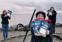 Cushla Dromgool-Regan with Anna Quinn and Dr Noirín Burke from the Explorers Education Programme based in Galway, getting ready to distribute the My Explorers Seashore Guide Workbook now also available in Irish Mo Threoir Don Chladach Leabhar Oibre to schools taking part in the Marine Institute's Explorers Education Programme. Photo Joe Regan.