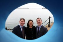 Marine Institute CEO Peter Heffernan, Yvonne Thompson, Partner at PwC and Jim O'Toole, CEO of BIM, Ireland's Seafood Development Company at the launch of Our Ocean Wealth Summit 2018 sponsored by PwC, which takes place on 28 and 29 June in Galway.   The 2 day conference will focus on Ireland's multi-billion euro marine economy, discussing the impact of Brexit, smart shipping, sea and airfreight logistics and Ireland's seafood sector, marine renewables, marine research, maritime commerce, financial planning