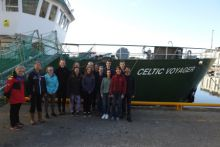 Professor Louise Allcock and the Ocean Sampling team and students from NUI Galway as they were about to depart Port of Galway on RV Celtic Voyager. Photo supplied by NUIG.