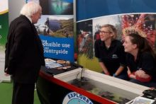 President Michael D Higgins visiting the Marine Institute's Explorers Education Programme and Leave No Trace Ireland stand at the Ploughing Championships 2018.