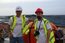 SEA-SEIS Survey, Chief Scientist Sergei Lebedev, DIAS and Daniel Farrell, Coastmonkey onboard the RV Celtic Explorer.