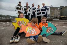 Pictured at the launch of SeaFest, Ireland's largest free family-friendly maritime celebration, which takes place at the Port of Cork, Cork City from 7 – 9 June are (back l-r) Colum Byrne, Second Lieutenant; Mick Finn, Lord Mayor of Cork; Dr Peter Heffernan, CEO of the Marine Institute; Cathy Buchanan, General Manager, Meitheal Mara; and Jim O'Toole, CEO of BIM with (front l-r) Lola Grainger (10), Archie Murray (6) and Marvin Grainger (7).