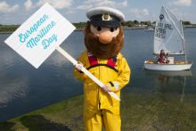 : SeaFest Ahoy! Marking 'European Maritime Day' (20th May) to launch SeaFest 2016 is RNLI's Stormy Stan, with Finn and Lillian Furey from Oranmore, on board an optimist. Photo Credit - Andrew Downes