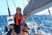 Vera Quinlan with the Argo Float onboard their yacht Danu.